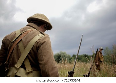World War One Soldier looks on in field