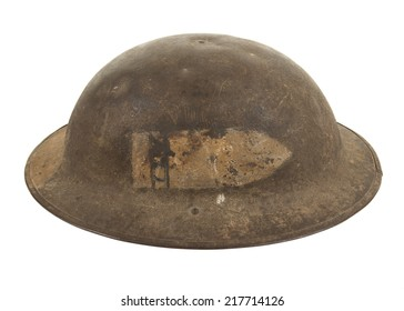 A World War One U.S. Army Doughboy Soldier's Steel Combat Helmet, isolated on white