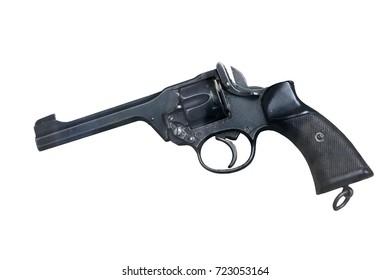 World war two British revolver isolated on white background