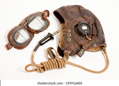 World War Two Flying Goggles and Helmet