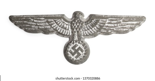 World War Two German Nazi Hat Badge Cut Out on White.