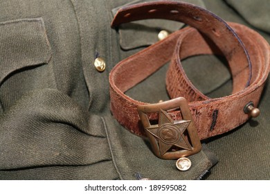 World War Two Soviet officer old leather belt and clothing
