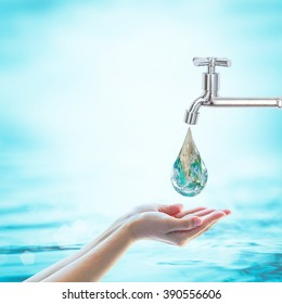 World water day, saving water and environmental protection concept. Element of this image furnished by NASA