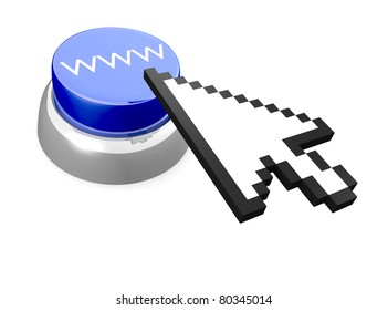 World Wide Web abstract button with 3D mouse cursor. It's a rendering illustration.