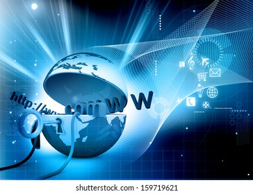 World wide web internet concept, opened Earth globe with computer mouse and www abstract   background