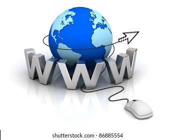 World wide web internet concept, Earth globe with computer mouse and cursor isolated on white background