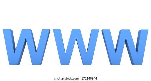 World wide web www letter symbol isolated on white background