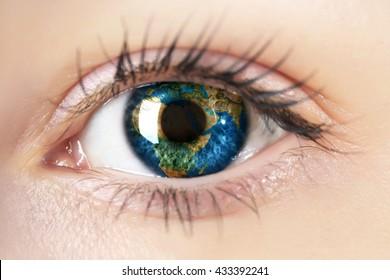 world in woman eye