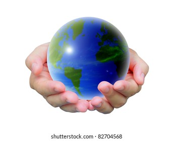 world and women hand on white background
