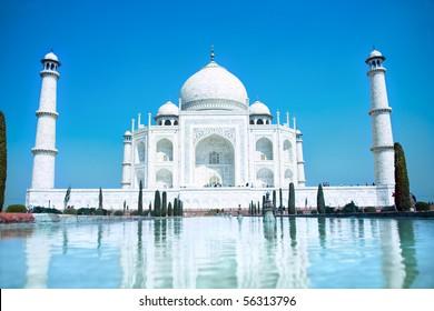 World wonder Taj Mahal in soft daily light with clear blue sky