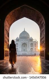 World wonder Taj Mahal at sunrise