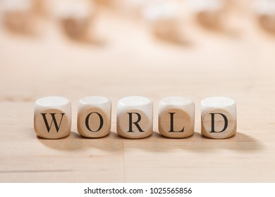 World word on wooden cubes. World concept