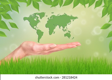 World in your hands. Abstract Green Grass.