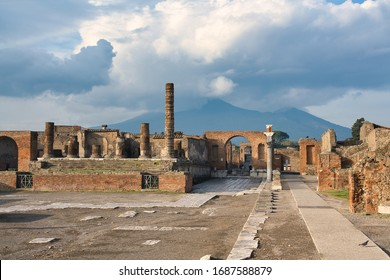 The world-famous ancient ruins of Pompeii with a great view of the Mount Vesuvius in the background. Naples, italy. Culture