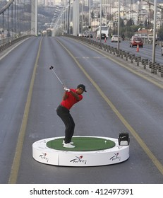 The world-famous golfer Tiger Woods has shot to the European continent in the Bosphorus Bridge. Istanbul, Turkey, 5 November 2015