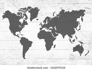 worldmap on Texture of wood background