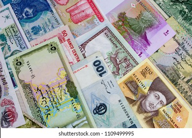 Worlds banknotes pattern. Background for business.