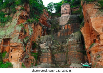 The World's biggest Budha statue, Leshan Giant Budha which is carved into Lingyun Mountain in Hai Tong, Sichuan China.