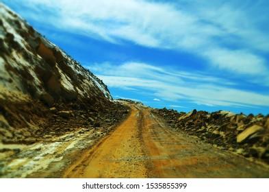 World's Highest Motorable Road Khardungla, Leh Ladakh, J&K India, Mountain top beautiful sky, road to sky.