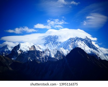 World's highest mountain Mount Everest covered in clouds