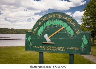 The world's largest axe is located in Nackawic, New Brunswick, Canada and weighs over 55 tons and stands 15 metres tall.