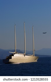World's Largest Sailing Yacht named A, belonging to the billionaire Andrey Melnichenko. Antibes, Azure shore, France. September 30, 2018. Editorial photo