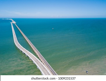 The World's Longest Pier - Progreso Pier. Gulf of Mexico. Aerial View. Bridge top view