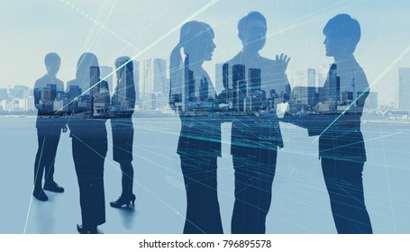 Worldwide business concept. Silhouettes of business persons.