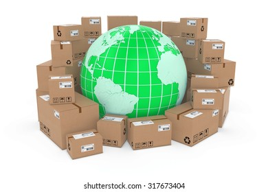 Worldwide Delivery Concept Image - Green Earth Globe in Stack of Cardboard Boxes - Elements of this image furnished by NASA