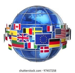 Worldwide international communication concept: cloud of colorful state flags around blue glass Earth globe isolated on white background