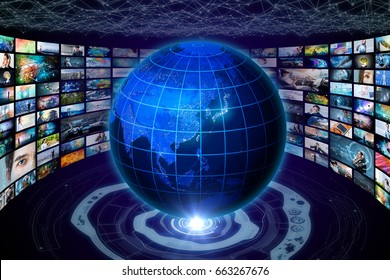 worldwide internet streaming service concept. elements of this image furnished by NASA. 3D rendering.