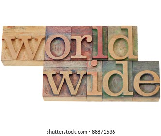 worldwide - isolated word in vintage wood letterpress printing block