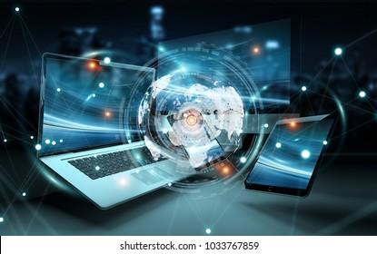 Worldwide server interface over modern tech devices in dark background 3D rendering