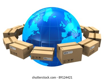 Worldwide shipping concept: row of cardboard boxes around blue Earth globe isolated on white background