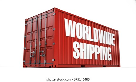 Worldwide shipping container, 3D illustration