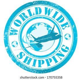 worldwide shipping grunge stamp, in english language