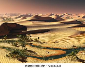 worldwide temperature change idea. solitary sand dunes under spectacular evening sunset sky at drought desert landscape 3d rendering