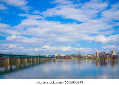 Wormleysburg, Pennsylvania - March 27, 2020: View of downtown Harrisburg skyline from Front Street.