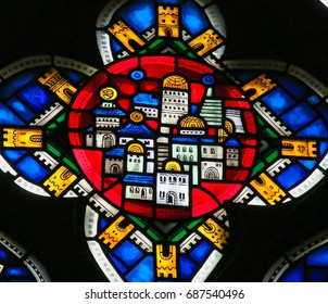 WORMS, GERMANY - JULY 4, 2017: Stained Glass in Wormser Dom in Worms, Germany, depicting the New Jerusalem, capital of the Messianic Kingdom.