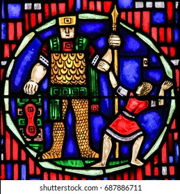 WORMS, GERMANY - JULY 4, 2017: Stained Glass in Wormser Dom in Worms, Germany, depicting David and Goliath
