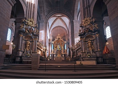 Worms, Germany - October 2019: Altar inside of roman catholic St Peter's Cathedral in city Worms in Germany