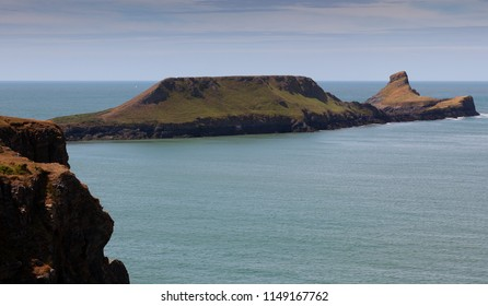 Worms Head on the Gower peninsula The iconic landscape of Worms Head on the Gower peninsula in Swansea, South Wales, UK
