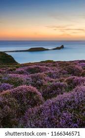 Worms Head at Sunset, Rhossili Bay, Gower, Peninsula, Wales, UK