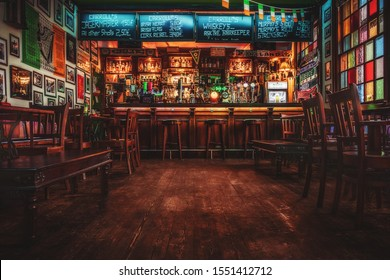 Worms, Rhineland-Palatinate/Germany - March 23rd 2018: The interior of Carroll's Irish Pub