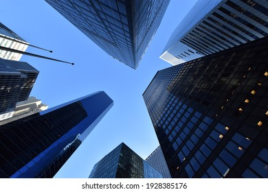 Worm's-eye view architecture and blue background , Lower Manhattan, New York City, USA
