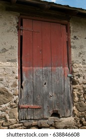 Worn barn door on a sunny Wisconsin day