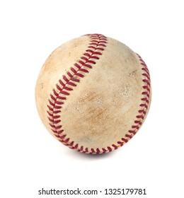 worn baseball isolated on white background, team sport