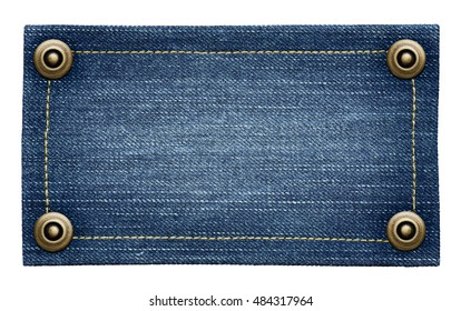 Worn blue jeans tag texture. Isolated denim label with rivets.