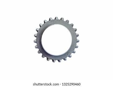 worn cog gear wheels on white reflective background.