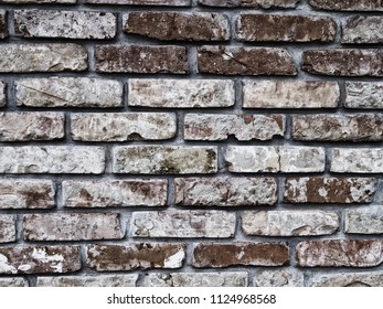 Worn, effected brick wall pattern. Stylish texture for web background, poster design, art print.